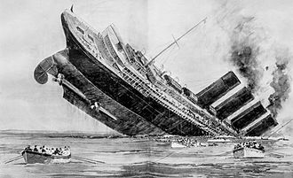 Norman Wilkinson (artist) - Wilkinson's illustration of the sinking of the RMS Lusitania from The Illustrated London News