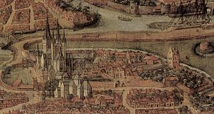 Saint Bavo's Abbey - Saint Bavo's Abbey on a map dated 1534, not long before the demolition