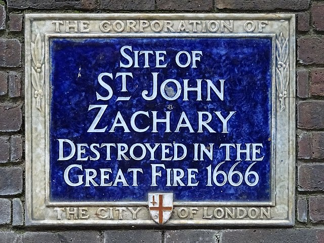 St. John Zachary, London blue plaque - Site of St. John Zachary  Destroyed in the Great Fire 1666