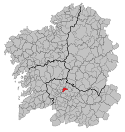 Situation of Amoeiro within Galicia