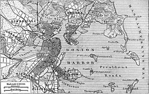 Deer Island (Massachusetts) - 1888 German map of Boston Harbor showing Deer Island on the middle right side.