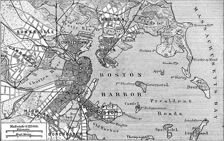 Situationsplan von Boston (Massachusetts)