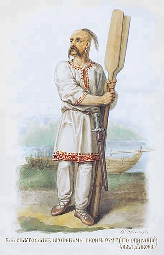 Sviatoslav I of Kiev - Illustration of Sviatoslav wearing a vyshyvanka, by Fedor Solntsev