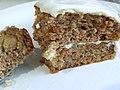 Slice of gluten-free carrot cake, April 2005.jpg