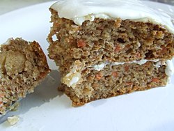 Slice of gluten-free carrot cake, April 2005.jpg