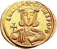An image of a golden coin bearing the image of Staurakios