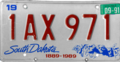 South Dakota license plate, 1987–1990 series with September 1991 sticker.png