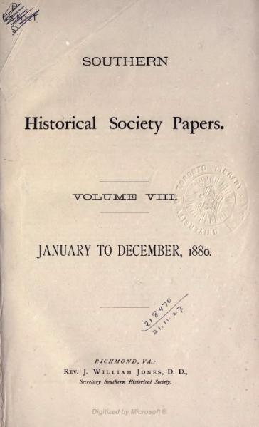File:Southern Historical Society Papers volume 08.djvu