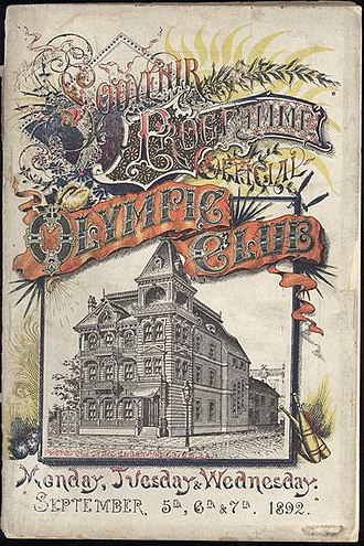 Olympic Club, New Orleans - Image: Souvenier Programme Olympic Club New Orleans Sept 1892