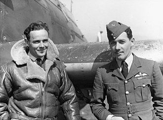 Pat Pattle - Pattle (left), while serving with No. 33 Squadron RAF, in 1941 with the squadron's adjutant, George Rumsey