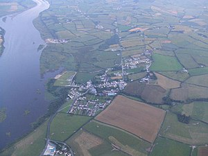 St Johnston - An aerial view of St Johnston, on the banks of the River Foyle.