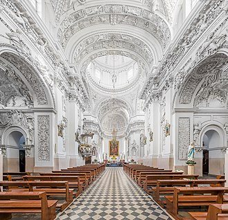 Church of St. Peter and St. Paul is a Baroque architecture masterpiece. It was funded by Michal Kazimierz Pac, commemorating a victory over the Muscovites and their expulsion from Vilnius after six years of occupation. St. Peter and St. Paul's Church 1, Vilnius, Lithuania - Diliff.jpg