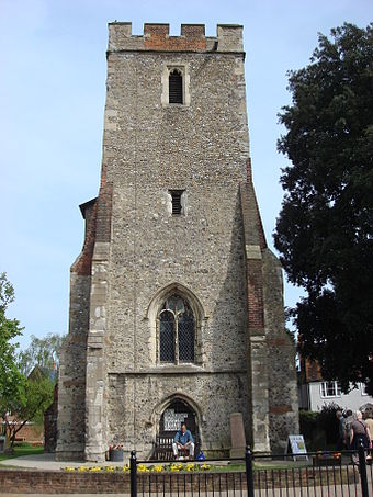 The tower of St Peter's Church, Maldon, where the Plume Library is held St. Peters Church Maldon.jpg