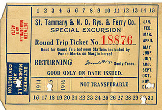 St. Tammany Parish, Louisiana - Round-trip trolley ticket on the St. Tammany and New Orleans Railways and Ferry Co., punched to be good on the transit line between Mandeville and Covington, Louisiana, for the date of December 30, 1915