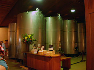 Stag's Leap Wine Cellars - Stainless steel fermenting containers that are part of the Stag's Leap Wine Cellars