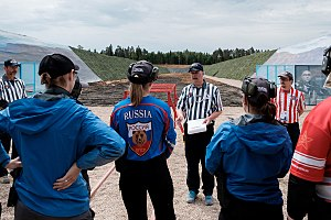 International Range Officers Association - A squad of shooters get their stage brief by an IROA Range Officer on stage 11 of the 2017 IPSC Rifle World Shoot in Russia.