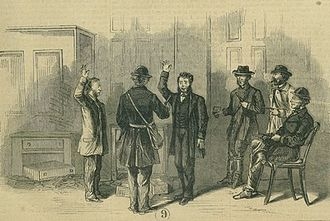 St. Albans Raid - St. Albans bank tellers being forced to pledge allegiance to the Confederacy,