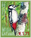 Stamp of Latvia 2016 Dendrocopos major.jpg