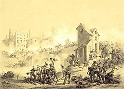 Fight between Austrians and Piedmontese over the Mincio bridge in Goito on 8 April 1848