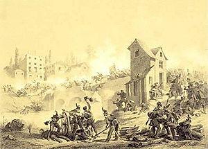 Goito - Fight between Austrians and Piedmontese over the Mincio bridge in Goito on 8 April 1848