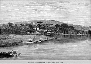 Democratic Republic of the Congo - View of Leopoldville Station and Port in 1884.