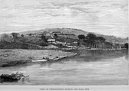 View of Leopoldville Station and Port in 1884 Stanley Founding of Congo Free State 186 View of Leopoldville Station and Port 1884 The Baptist Mission on the summit of Leopold Hill.jpg