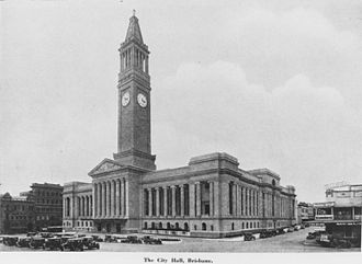 Built 1930 and a cultural masterpiece of Australian architecture, Brisbane City Hall was one of the most expensive buildings and the second largest construction of the Inter-war period, after the Sydney Harbour Bridge. StateLibQld 1 190023 City Hall in Brisbane around ca. 1930.jpg