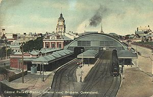 Central railway station, Brisbane - View to the west toward the platforms circa 1911