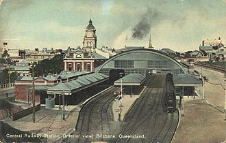 North Coast railway line, Queensland - 1911 view of Central station, Brisbane, designed by the former Colonial Architect, J J Clark