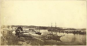 Gladstone, Queensland - Ships moored at the docks at Gladstone, ca. 1868