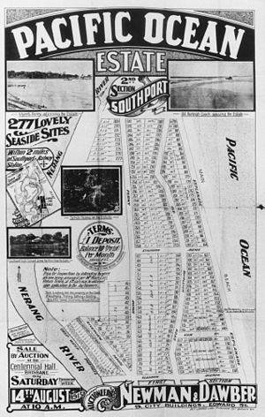Surfers Paradise, Queensland - Estate map for Pacific Ocean Estate, north of Elkhorn Avenue, 1915