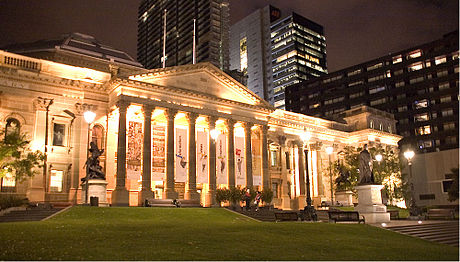 The State Library of Victoria forecourt State Library at Night.jpg