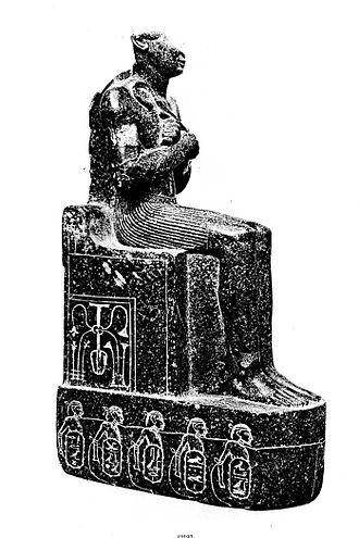 Psusennes II - Statue with dedication to Psusennes II and Shoshenq I (originally for Thutmose III). Cairo, CG 42192 (JE 37005)
