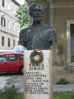 Siege of Güns - Image: Statue of Nikola Jurisic in Senj, Croatia