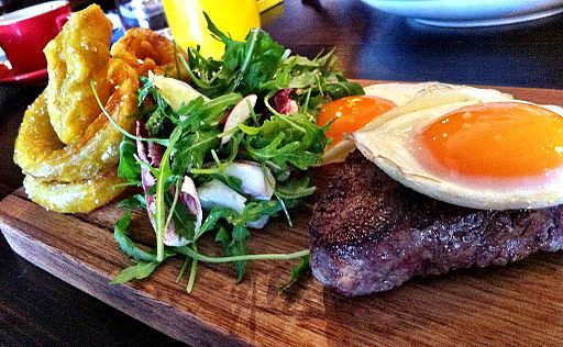Steak and eggs at Woods of Windsor restaurant