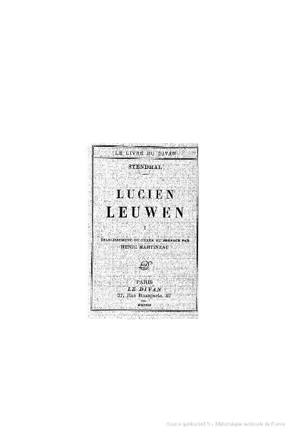 File:Stendhal - Lucien Leuwen, I, 1929, éd. Martineau.djvu