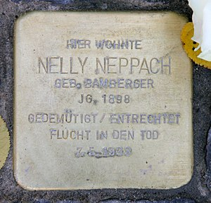 Nelly Neppach - Stolperstein outside Neppach's home at Nachodstraße 22, Berlin