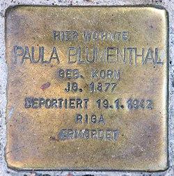 Photo of Paula Blumenthal brass plaque