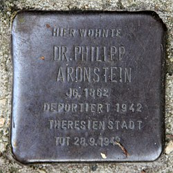 Photo of Philipp Aronstein brass plaque