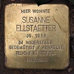 Photo of Susanne Ellstaetter brass plaque
