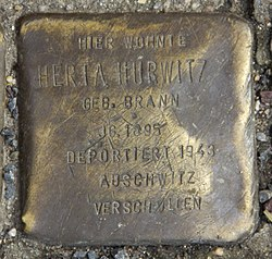 Photo of Herta Hurwitz brass plaque