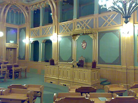 Lagting Hall, which also serves as the meeting room for the Christian Democratic Party's parliamentary group. The Lagting was discontinued in 2009. Stortinget Lagtinget 01.jpg