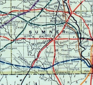 Sumner County, Kansas - 1915 Railroad Map of Sumner County