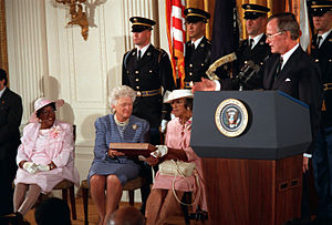 Timeline of the presidency of George H. W. Bush - President Bush at the posthumous presentation of the Medal of Honor of Corporal (CPL) Freddie Stowers, April 4, 1991