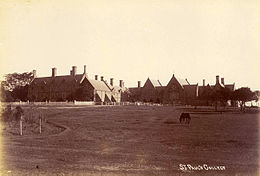 Early 20th century photo of college buildings, with horse grazing in pasture in foreground