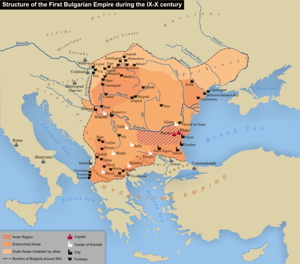 First Bulgarian Empire, late 9th century (894) Structure of the First Bulgarian Empire during the IX-X century.png