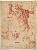 Studies for the Libyan Sibyl (recto); Studies for the Libyan Sibyl and a small Sketch for a Seated Figure (verso) MET DP826907.jpg