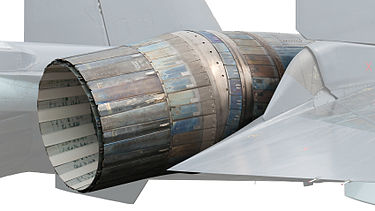 3D thrust vectoring nozzle on a Sukhoi Su-35S Sukhoi Su-35S 07 RED PAS 2013 07 cutout.jpg