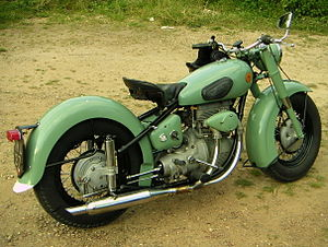 Sunbeam Cycles - Mist Green S7 showing shaft-driven rear wheel and balloon tyres captured on highway, central England in 2007