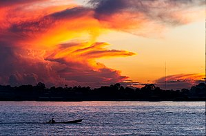 Amazon River - Sunset over the Amazon near Leticia, Colombia